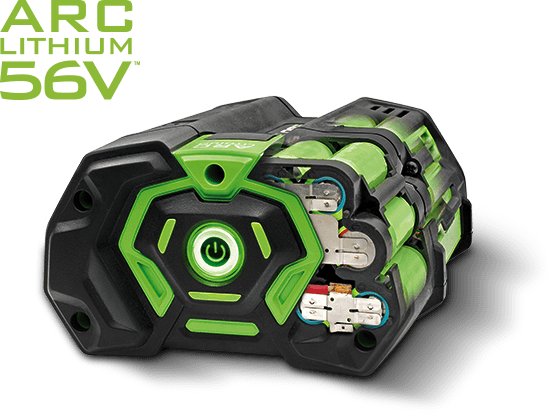 An EGO Power+ 56V ARC Lithium™ Ion battery, powered on.